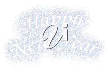 Snow mark of Happy New Year sign isolated on white background