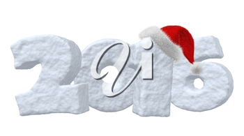 New Year 2016 sign made of snow with Santa Claus red hat isolated on white background 3d illustration
