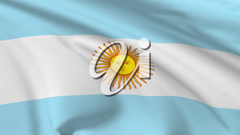 National flag of Argentina flying in the wind, 3d illustration closeup view