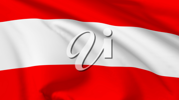 National flag of Republic of Austria flying in the wind, 3d illustration closeup view