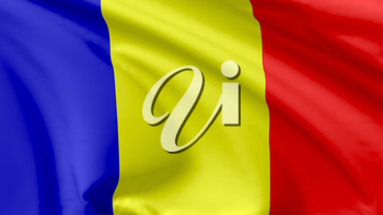 National flag of Romania flying in the wind, 3d illustration closeup view