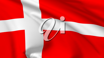 National flag of Kingdom of Denmark flying in the wind, 3d illustration closeup view