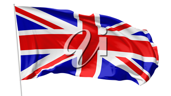 National flag of United Kingdom of Great Britain on flagpole flying in the wind isolated on white, 3d illustration