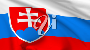 National flag of Slovakia (Slovak Republic) flying in the wind, 3d illustration closeup view