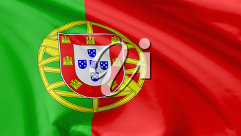 National flag of Portugal (Portuguese Republic) flying in the wind, 3d illustration closeup view