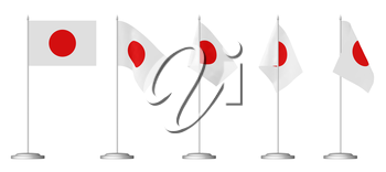 Small table flag of Japan on stand isolated on white, 3d illustrations set
