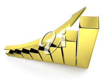 Financial growth, investment success and financial business and banking development concept: growing bar chart made of gold with upward golden arrow with reflections isolated, 3d illustration, top vie