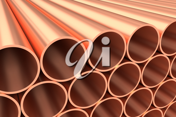 Heavy metallurgical industry production and non-ferrous industrial products creative abstract illustration: many stainless metal shiny copper pipes lying in rows, creative industrial 3D illustration