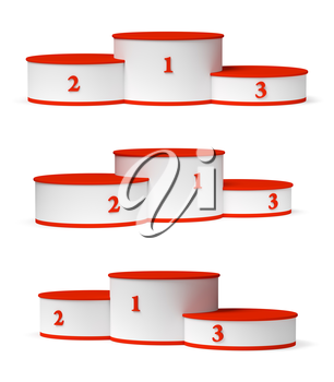 Sports winning and championship and competition success symbol - round sports pedestal, white winners podium with empty red first, second and third places isolated on white 3d illustration set.