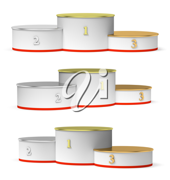 Sports winning and championship and competition success symbol - set of round sports pedestal, white winners podium with empty golden first, silver second and bronze third places, isolated on white, 3