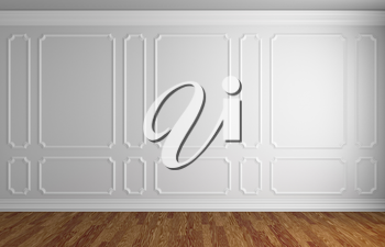 Simple classic style interior illustration - white wall with white decorative frame on the wall in classic style empty room with dark wooden parquet floor with white baseboard, 3d illustration interio
