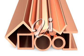 Metallurgical industry non-ferrous industrial products - stainless rolled copper metal products (pipes, profiles, girders, bars, balks and armature) on white, industrial 3D illustration