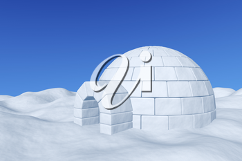 Winter north polar snowy landscape - eskimo house igloo icehouse made with white snow on the surface of snow field under cold north blue sky 3d illustration
