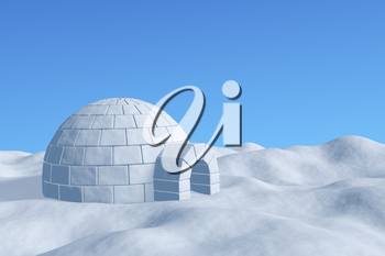 Winter north polar snowy landscape - eskimo house igloo icehouse made with white snow on the surface of snow field under cold north blue sky closeup view 3d illustration