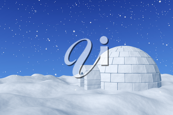 Winter north polar snowy landscape - eskimo house igloo icehouse made with white snow on surface of snow field under cold north blue sky with snowfall 3d illustration.
