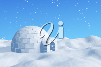 Winter north polar snowy landscape - eskimo house igloo icehouse made with white snow on the surface of snow field under cold north blue sky under snowfall 3d illustration
