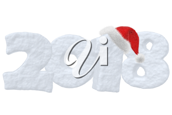 New Year 2018 snow sign text written with numbers made of snow with Santa Claus fluffy red hat, New Year 2018 winter snow symbol 3d illustration isolated on white