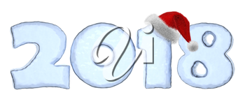 2018 happy new year sign text written with numbers made of blue ice with Santa Claus fluffy red hat, new year icy 2018 winter symbol 3d illustration isolated on white