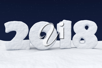 2018 New Year sign text written with numbers made of snow on snowy field at night under cold north clear night sky with bright stars, 2018 year winter snow symbol 3d illustration