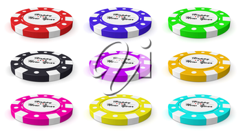 Collection of casino chips with sign Happy New Year on white background, 3D illustration set
