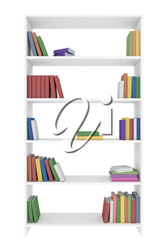White bookcase with many different color books on bookshelves isolated on white, 3D illustration