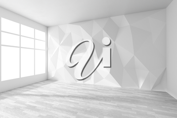 Empty white room interior with wall with rumpled triangular geometric surface with sun light from window, with white parquet floor and ceiling, 3d illustration