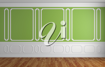 Green wall with white moldings and decorations on wall in classic style empty room with wooden parquet floor and white baseboard, classic style architectural background 3d illustration interior