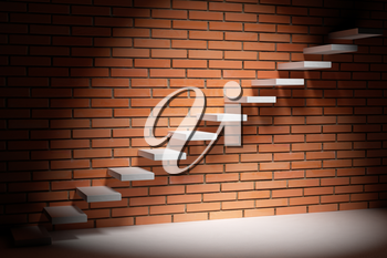 Business rise, forward achievement, progress way, success and hope creative concept - Ascending stairs of rising staircase in dark empty room with red bricks wall with spot light, 3d illustration
