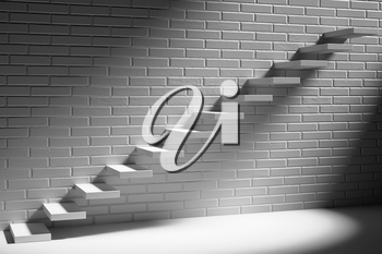 Business rise, forward achievement, progress way, success and hope creative concept - Ascending stairs of rising staircase in dark white empty room with white brick wall with light, 3d illustration