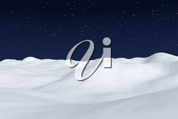 White snow field with hills and smooth snow surface under bright clear winter night north sky with bright stars winter arctic minimalist landscape background, 3d illustration