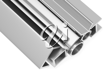 Metallurgical industry industrial products - group of rolled steel metal products (pipes, profiles, girders, bars, balks and armature) on white industrial 3D illustration