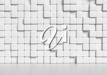 Abstract white wall made of white cubes and smooth floor with reflection, abstract simple 3d illustration