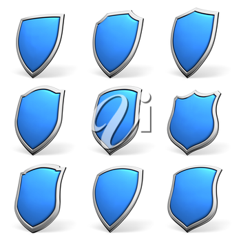 Protection, defense and security concept symbol: blue shield isolated on white background collection set
