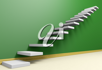 Business rise, forward achievement, progress way, success and hope creative concept: Ascending stairs of rising staircase in green empty room with beige floor and plinth, 3d illustration