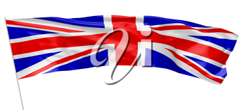 National flag of United Kingdom of Great Britain with flagpole waving and flying in the wind isolated on white, long flag, 3d illustration