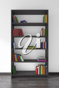 Black wooden bookcase on black parquet floor about white wall with many different books on bookshelves, 3D illustration