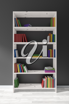 White wooden bookcase on whie parquet floor about black wall with many different books on bookshelves, 3D illustration