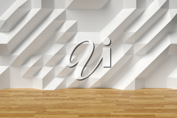 White abstract room wall with futuristic bumpy polygonal geometric surface and brown wood parquet floor 3d illustration