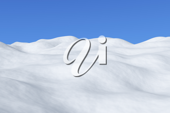 White snowy field with hills and smooth snow surface under bright clear winter blue sky arctic winter minimalist landscape, 3d illustration