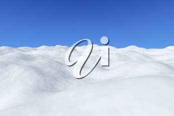 White snowy field with hills and smooth snow surface under bright clear winter blue sky arctic winter minimalist landscape, 3d illustration.