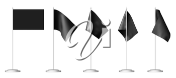 Small black table flag on stand isolated on white, 3D illustration set