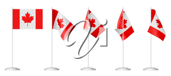 Small table flag of Canada on stand set isolated on white 3D illustrations.
