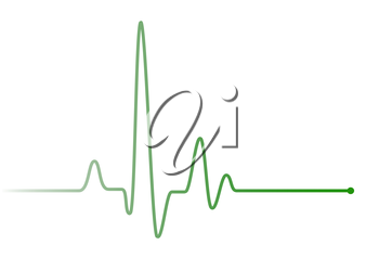 Green heart beat pulse line on white, healthcare medical sign with heart cardiogram, cardiology concept pulse rate diagram illustration
