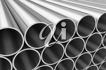 Manufacturing industry business production and heavy metallurgical industrial products creative abstract illustration: many shiny steel pipes lying in rows, industrial 3D illustration