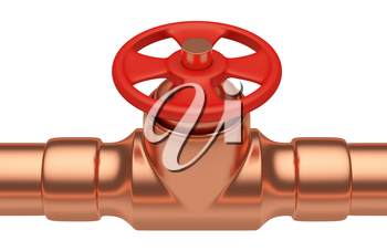 Plumbing or gas pipeline industrial metal construction: red valve on copper pipe of copper pipeline isolated on white background closeup, industrial 3D illustration