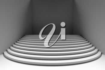 Stage with white round stairs in dark empty white room, wide angle front view, abstract architectural interior 3d illustration