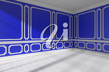 Blue empty room corner interior with sunlight from window, decorative classic style molding frames on walls, white wooden parquet floor and white baseboard, 3d illustration