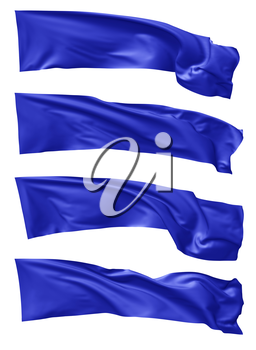 Long blue flag flying and waving in the wind isolated on white collection, 3d illustration set