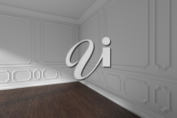 White empty room corner interior with sunlight from window, decorative classic style molding frames on walls, dark wooden parquet floor and white baseboard closeup, 3d illustration