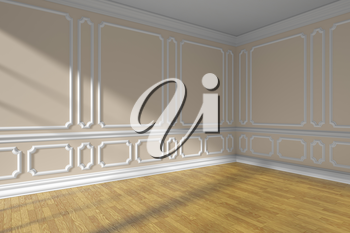 Empty beige room interior with sunlight from window, white decorative classic style molding on walls, wooden parquet floor and white baseboard, 3d illustration, closeup